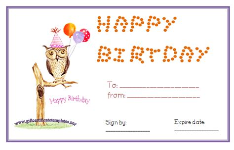 printable happy birthday gift certificates 6 best images of birthday printable gift certificates