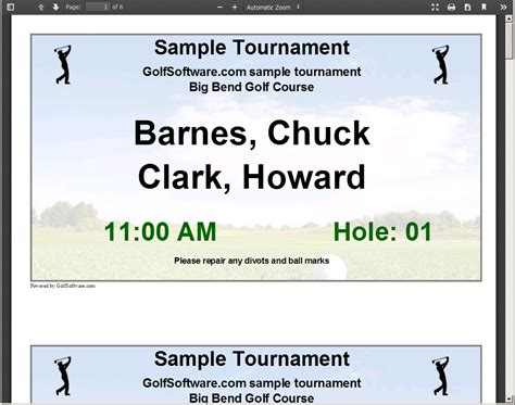 Take A Tour Of Tournament Manager Online Golfsoftware Com Golf Cart Sign Template