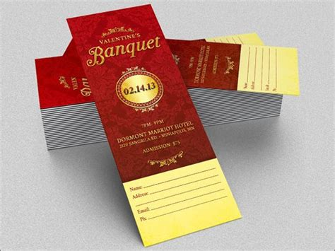 printable valentine tickets 8 banquet ticket templates free psd ai vector eps