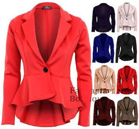 Cola Blazer la mujer elegante de gran tama 241 o de color caramelo de cola de pescado peplum casual blazer bot 243 n
