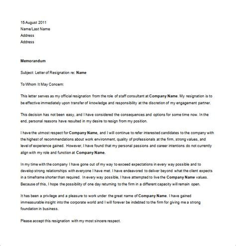 Best Resignation Letter Of All Time Professional Resignation Letter Templates 14 Free Word Excel Pdf Format Free