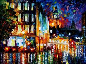 Home Decoration Paintings by London S Lights Palette Knife Oil Painting On Canvas By