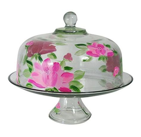 cake plate with cover peony glass cake pie plate dome cover stand lid