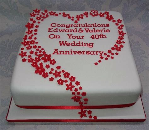 Ruby Wedding Anniversary Ideas Usually by Amazing 40th Wedding Anniversary Cakes Inspirations