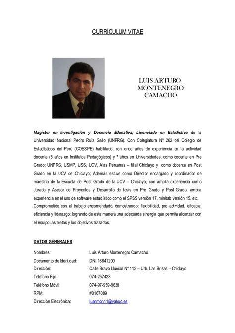 Modelo De Curriculum Vitae En Peru 2012 Modelo De Curriculum Vitae Ucv Modelo De Curriculum Vitae