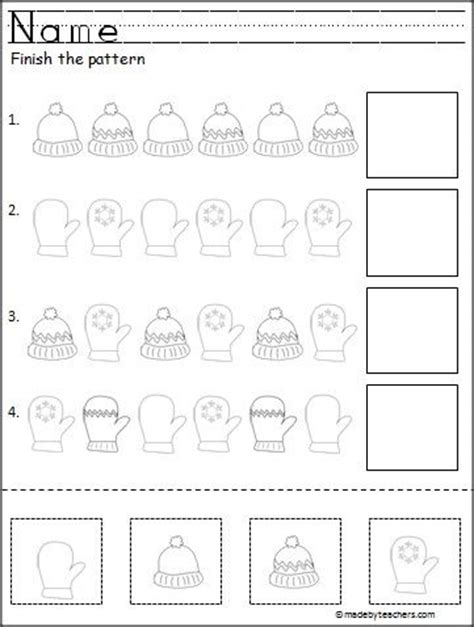winter pattern worksheet free cut and paste pattern activity for winter great for