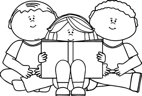 read colored reading book coloring page wecoloringpage