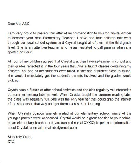 Reference Letter For Elementary Student sle letter of recommendation for 18