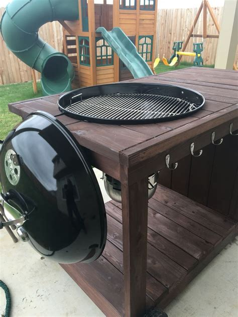 diy grill table plans side view with lid holder weber grill cart with