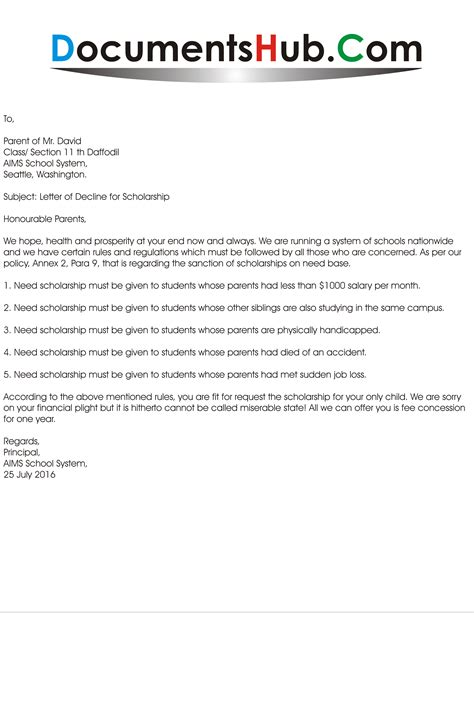 Decline Recommendation Letter Request Sle Letter Of Decline For Scholarship Documentshub