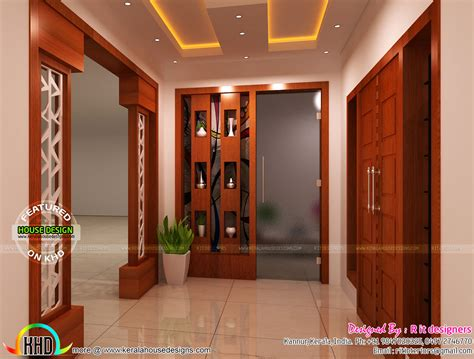 foyer interior modular kitchen living bathroom and foyer kerala home