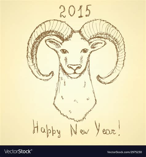 new year ram vector sketch new year ram in vintage style royalty free vector