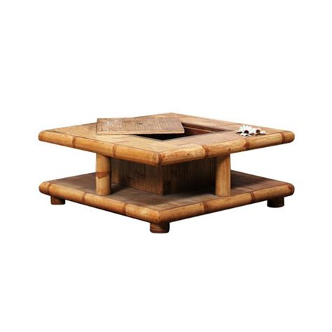 table salon coffre table basse bambou naturel avec coffre bar tao 4126