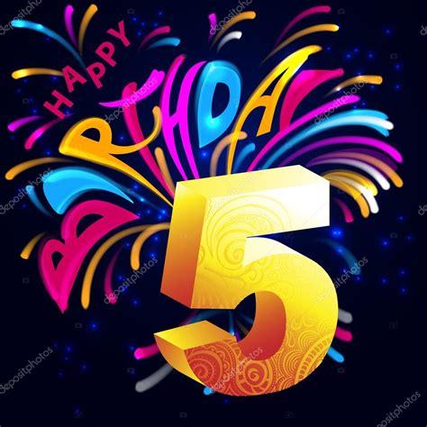 lettere d di buon compleanno fuochi d artificio di buon compleanno con un oro numero 5