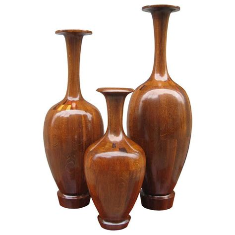 decorative vases set of three large decorative wooden vases for sale at 1stdibs