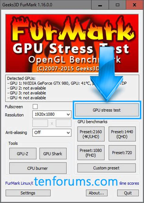 stress test gpu furmark gpu stress test windows 10 forums