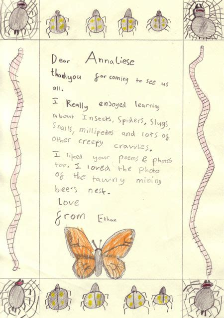 Thank You Letter Ks2 Anneliese Emmans Dean National Association Of Writers In Education