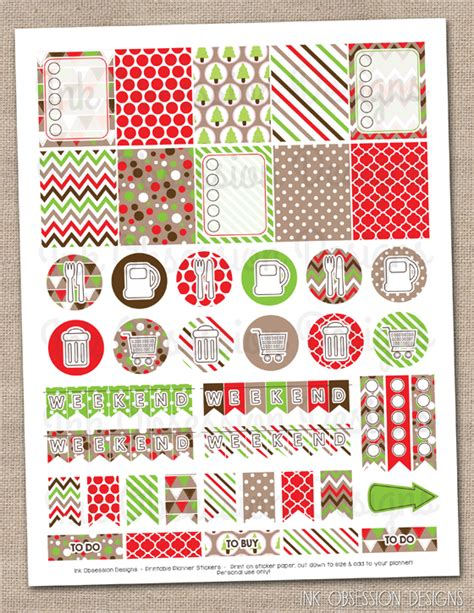 free printable christmas planner stickers ink obsession designs new instant download printable