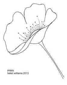 Simple Poppy Flower Drawing Sketch Coloring Page sketch template
