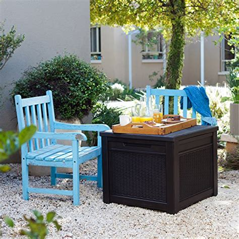 keter 55 gallon storage table keter 55 gallon outdoor rattan style storage cube patio