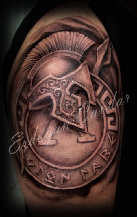 sheild tattoo warrior helmet with shield design ideas