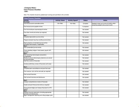 7 Checklist Template Excel Bookletemplate Org Process Checklist Template