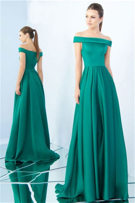 Shoulder A Line Pleated Dress a line the shoulder jade green satin pleated evening