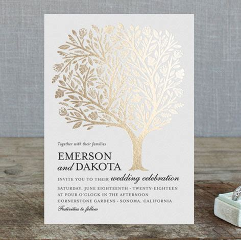 foil pressed wedding invites golden tree foil wedding invitations by griffinbell paper co