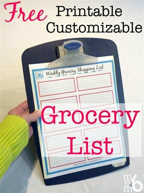 printable grocery list momof
