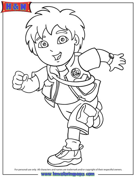 go diego go running coloring page h m coloring pages