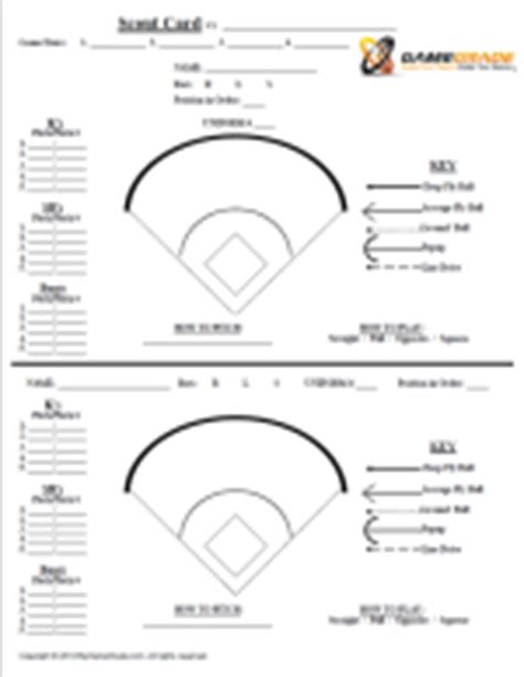 baseball card book report template baseball spray chart template blank softball lineup card