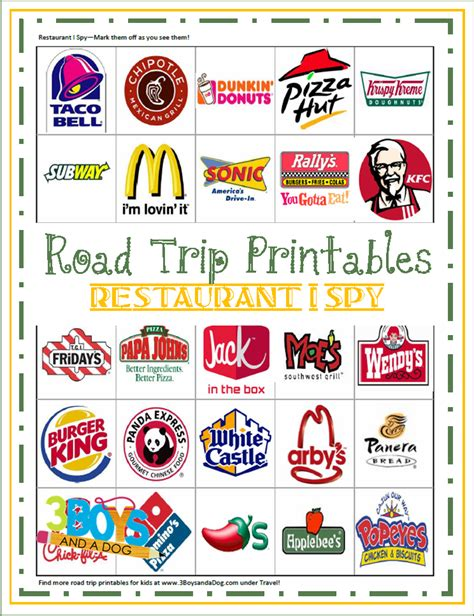 Road Trip Printables road trip printables for restaurant i