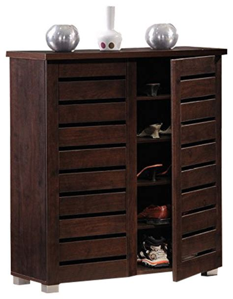 Entryway Shoe Cabinet by Adalwin 2 Door Brown Wooden Entryway