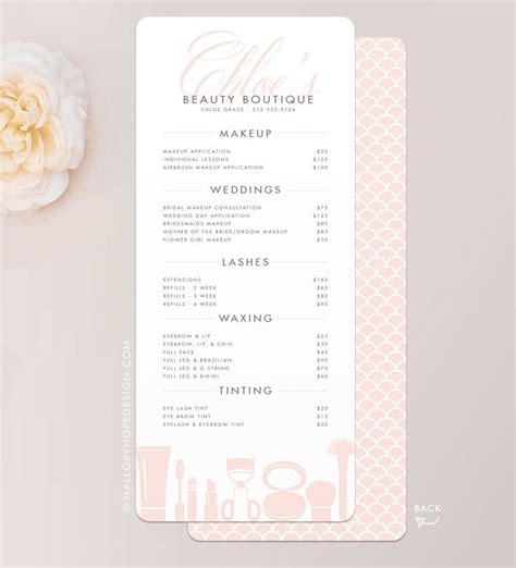 price card menu template best 20 makeup artist cards ideas on