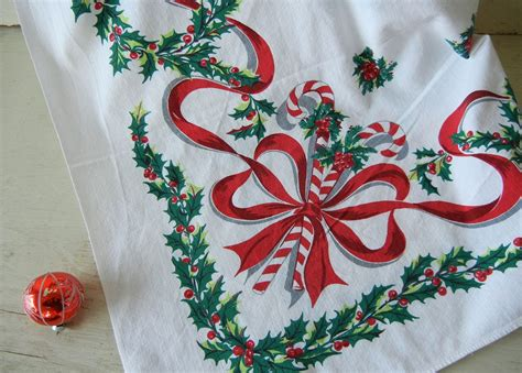 into vintage a vintage christmas tablecloth giveaway
