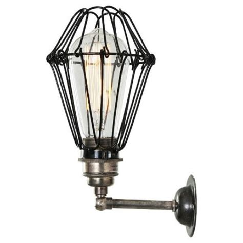 antique silver industrial style wall light with well glass shade industrial steunk wall light with adjustable cage shade