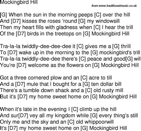 old time song lyrics with guitar chords for mockingbird hill g