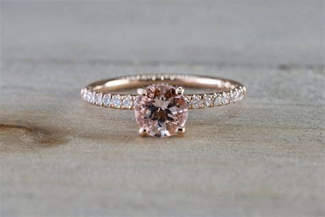 14k rose gold dainty round morganite with round cut