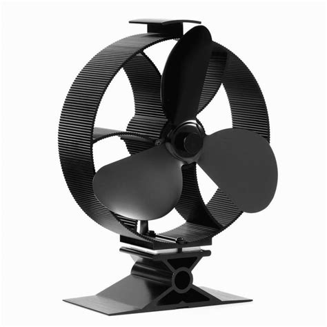 wood burning stove circulating fan heat powered round stove fan 3 blade black aluminum wood