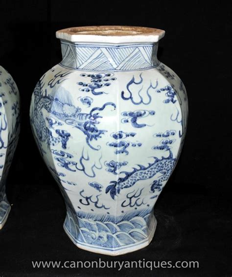 Porcelain Vases And Urns by Pair Ming Blue And White Porcelain Temple Jars Vases Urns