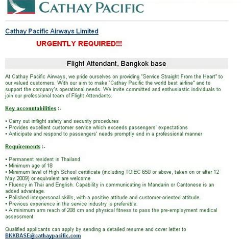 Insurance Letter Ryanair Fly Gosh Flight Attendant Cathay Pacific Bangkok Base Thailand