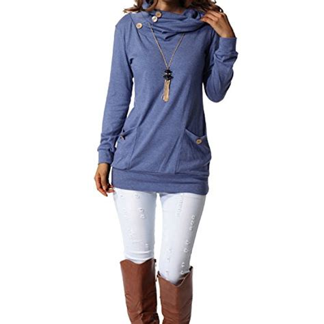 Hmm Tuneec Longshirt levaca womens sleeve button cowl neck casual slim tunic tops with pockets deal shop