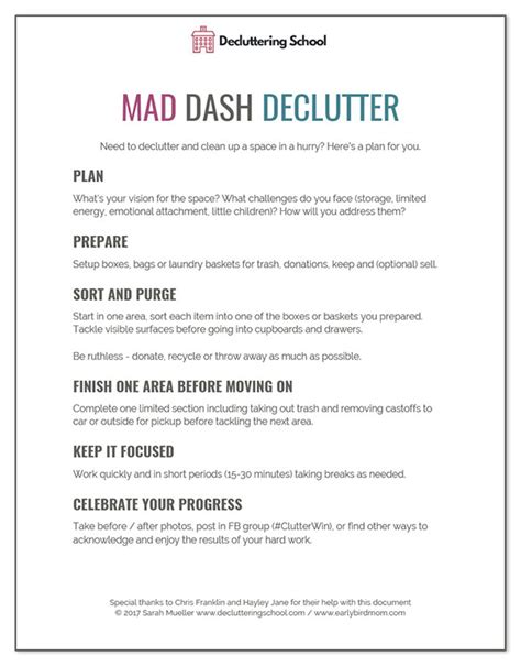 declutter bedroom checklist how to declutter a room in a hurry free printable checklist