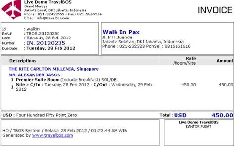 cara membuat invoice hotel travelbos bukti penerimaan aplikasi akunting travel