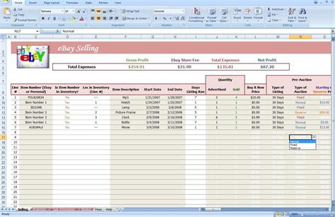 ebay excel template ebay profit and loss spreadsheet ebay spreadsheet template