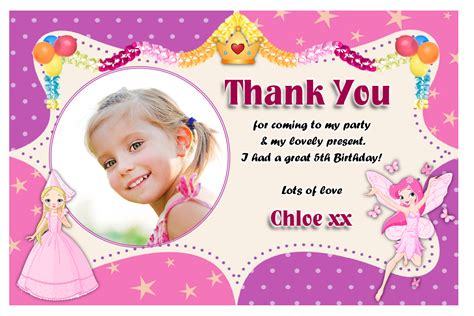 Thank You For The Birthday Card 10 Personalised Princess Fairy Birthday Thank You Thankyou