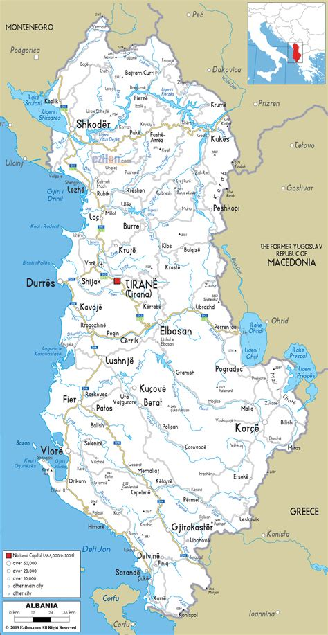 albania political map large detailed road and political map of albania with