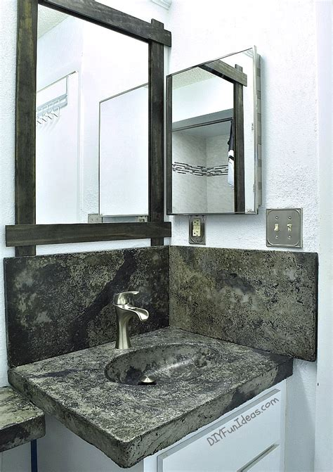 diy bathroom countertop ideas diy concrete countertop with an integral sink shelterness