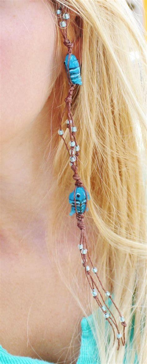 bead in extensions blue beaded hair extension blue fish hemp hair