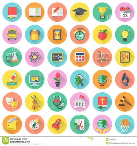 Desk Plans by Flat Subjects Icons With Long Shadows Stock Image